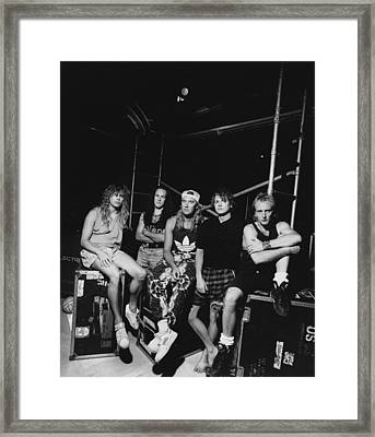 Def Leppard - Adrenalize Tour B&w 1992 Framed Print by Epic Rights