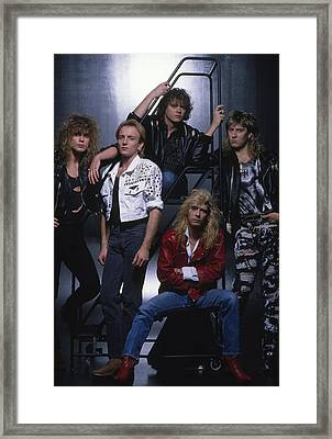 Def Leppard - Group Stairs 1987 Framed Print by Epic Rights