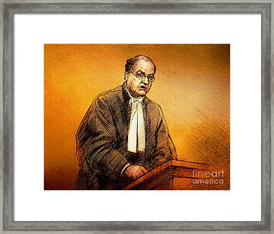 Defence Lawyer Robert Richardson At Richard Kachkar Trial Framed Print by Alex Tavshunsky