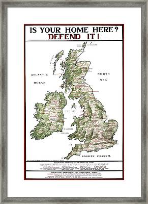 Defend The United Kingdom - 1915 Framed Print by Daniel Hagerman