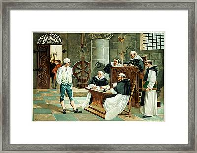 Defendant Before The Spanish Inquisition Framed Print