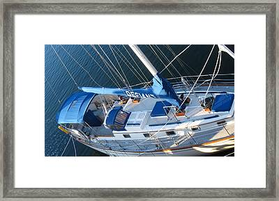 Defiant Sailboat Blues Framed Print