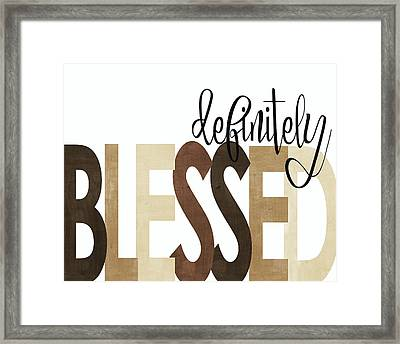 Definitely Blessed Neutral Framed Print by Alli Rogosich