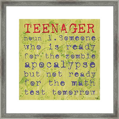 Definition Of Teenagers Framed Print by Debbie DeWitt