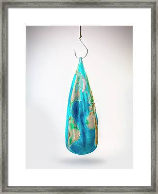Deflated Earth Hanging On Fish Hook Framed Print by Andrzej Wojcicki/science Photo Library