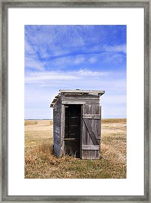 Defunct Outhouse At Rural Elementary School Framed Print