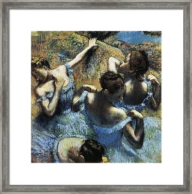 Degas, Edgar 1834-1917. Blue Dancers Framed Print by Everett