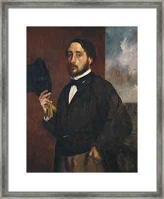 Degas, Edgar 1834-1917. Self-portrait Framed Print by Everett