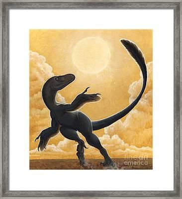 Deinonychus Antirrhopus Dancing Framed Print by H. Kyoht Luterman