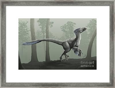 Deinonychus Antirrhopus In A Misty Framed Print