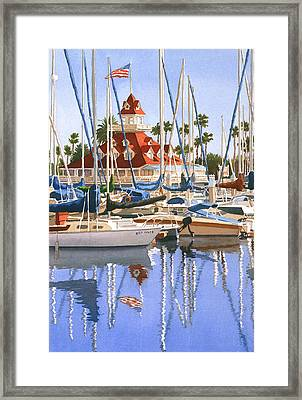 Del Coronado Boathouse Framed Print