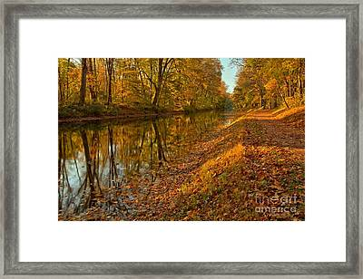 Delaware Canal Fall Foliage Framed Print by Adam Jewell