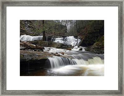 Delaware Falls Under April Morning Fog Framed Print by Gene Walls