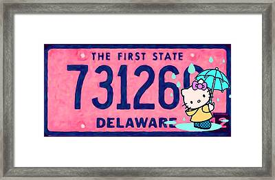 Delaware License Plate Framed Print by Lanjee Chee