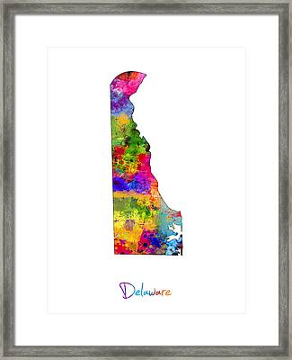 Delaware Map Framed Print by Michael Tompsett