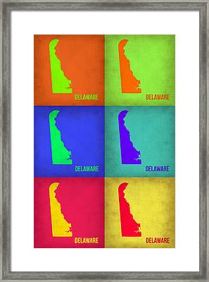 Delaware Pop Art Map 1 Framed Print by Naxart Studio