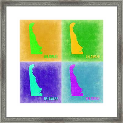 Delaware Pop Art Map 2 Framed Print by Naxart Studio