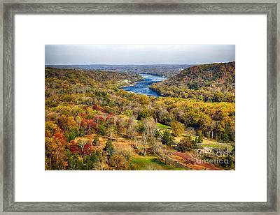 Delaware River Valley Fall Scenic Framed Print by George Oze