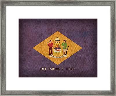 Delaware State Flag Art On Worn Canvas Framed Print