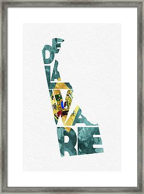 Delaware Typographic Map Flag Framed Print by Ayse Deniz