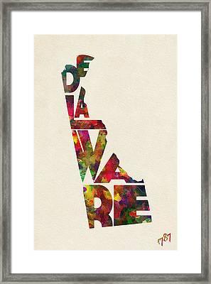 Delaware Typographic Watercolor Map Framed Print by Ayse Deniz