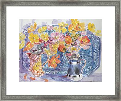 Delft Plate And Iceland Poppies Framed Print
