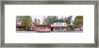 Delgadillo's Snow Cap Drive-in On Route 66 Panoramic Framed Print by Mike McGlothlen