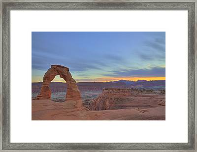 Framed Print featuring the photograph Delicate Arch At Sunset by Alan Vance Ley