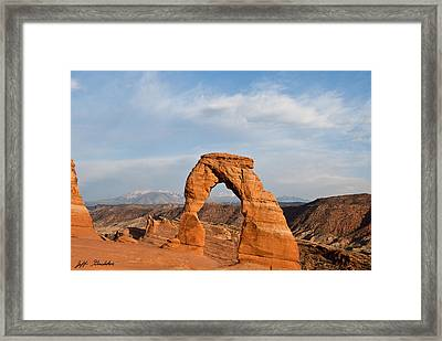 Framed Print featuring the photograph Delicate Arch At Sunset by Jeff Goulden