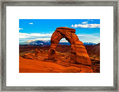 Delicate Arch In Saturated Watercolor Framed Print
