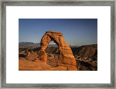 Delicate Arch Sunset Framed Print by Michael J Bauer