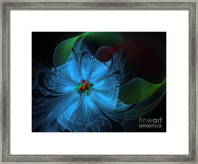 Delicate Blue Flower-fractal Art Framed Print by Karin Kuhlmann