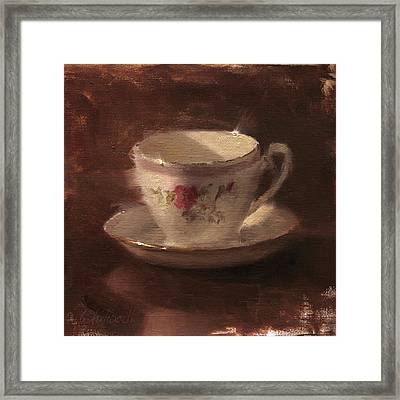 Delicate Lines Teacup And Saucer  Framed Print