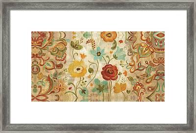 Delicate Paisley Floral Framed Print by Silvia Vassileva