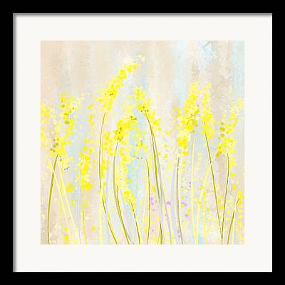 Turquoise And Yellow Framed Prints