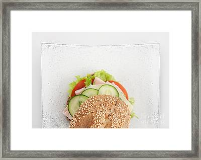 Delicious Ham Cheese And Salami Sandwich Framed Print by Mythja  Photography