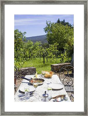Delicious Italian Lunch In Garden Framed Print by Patricia Hofmeester