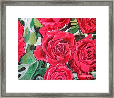 Framed Print featuring the painting Delight Of Grandma's Roses Painting by Kimberlee Baxter