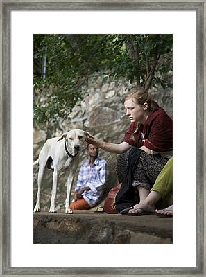 Delighted Dog Framed Print