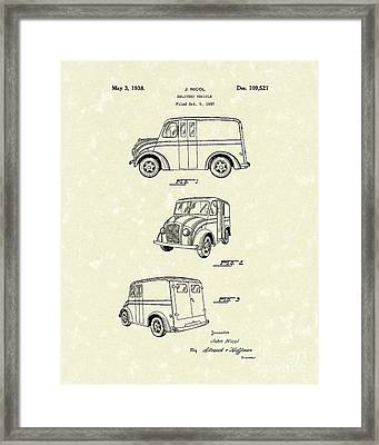 Delivery Vehicle 1938 Patent Art  Framed Print by Prior Art Design