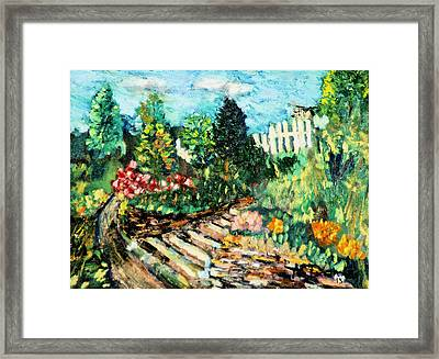 Framed Print featuring the painting Delphi Garden by Michael Daniels