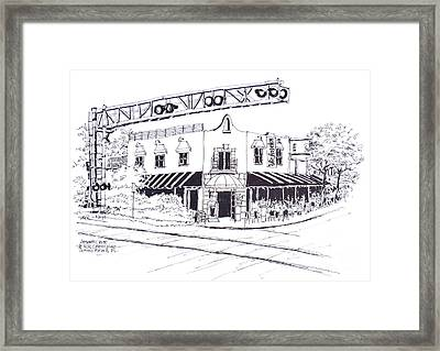 Delray Beach Restaurant. Vic Angelos On Atlantic Ave. At Railroad Crossing. Florida. Framed Print