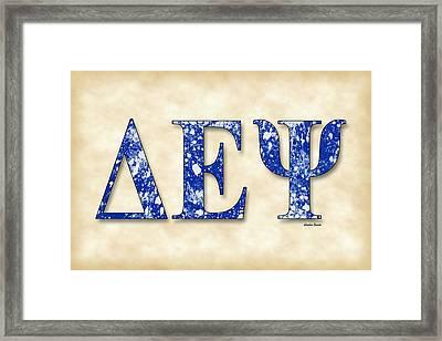 Delta Epsilon Psi - Parchment Framed Print