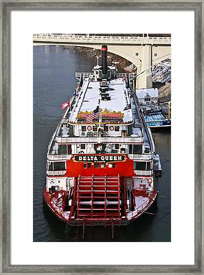 Delta Queen In Christmas Snow Framed Print by Tom and Pat Cory