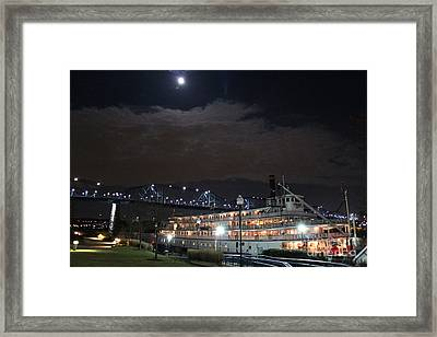 Delta Queen Under A Full Moon Framed Print by Kathy  White