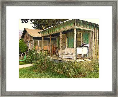 Delta Sharecropper Cabin - All The Conveniences Framed Print