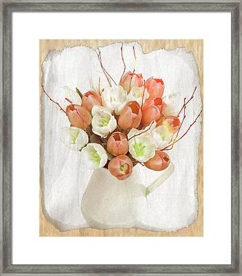 Deluxe Peach Tulips Framed Print by Debra  Miller