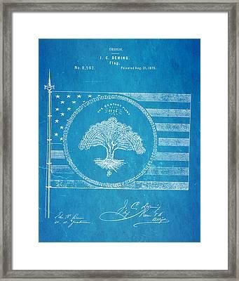 Deming Century Flag Patent Art 1875 Blueprint Framed Print by Ian Monk