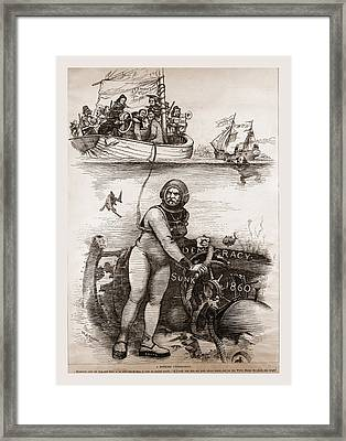 Democracy Sunk 1860, 19th Century Engraving Framed Print by Litz Collection