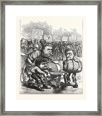 Democratic Axe-grinder, Engraving 1880, Us, Usa Framed Print by American School